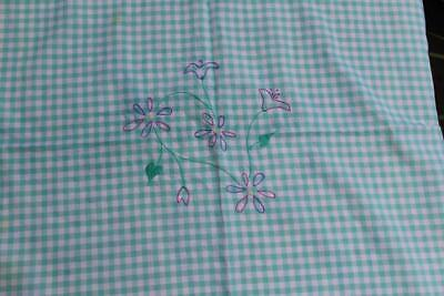 Vintage Kitchen Tablecloth 33 x 33 and Napkins Embroidered Blue Stripes