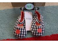 New Two Pairs of M&S Baby Pram Shoes Cotton Navy Mix Bloom 6-12M & 12-18M RRP £7 Each