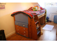 Stompa cabin bed and range of cupboards and drawers.