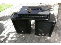 Kustom 60W mixer amplfier and pair speakers with leads