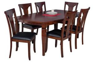 Victoria Boat Shape Seven Piece Dining Set In Espresso