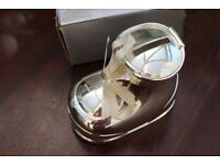 New Unused Silver Plated Baby Bootie Money Box