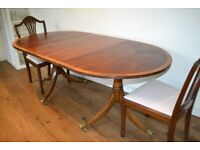 Lovely Georgian style dining table plus 4 dining chairs and two matching carvers