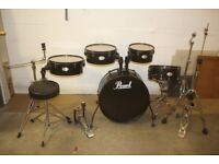 Pearl Rhythm Traveller Black 5 Piece Full Drum Kit 20in Bass + Hardware and Pearl Cymbals - £325 ono