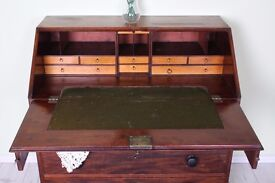 ANTIQUE WRITING BUREAU SOLID MAHOGANY RUSTIC CHARACTER - CAN COURIER FREE LOCAL DELIVERY