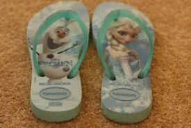 Girls Havaianas Frozen flip-flops size 9