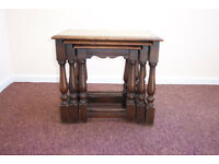 Nest of 3 Oak Occasional/ Coffee Tables / Lamp Stands