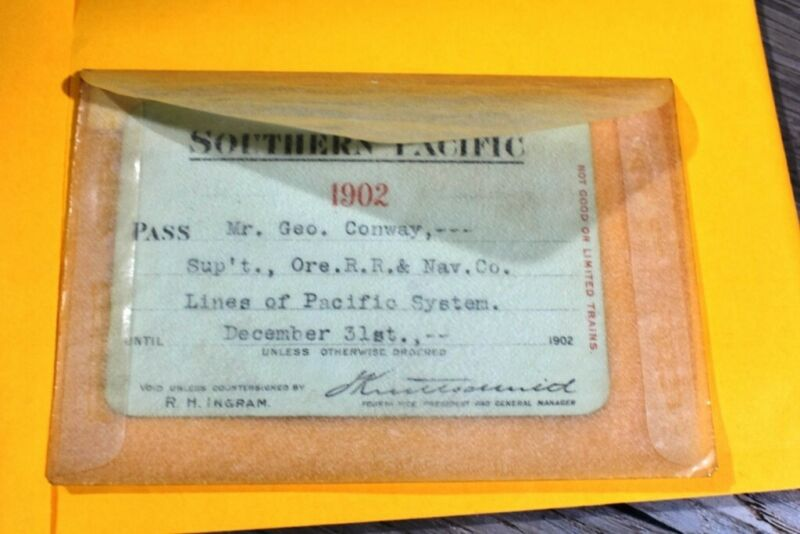 1902 Southern Pacific Company. railroad annual pass Mr. Geo. Conway