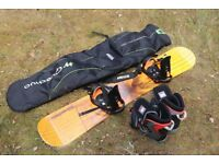 Quechua 160cm snowboard, bindings, bag + Nidecker boots (UK men size 10)