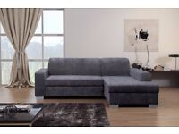 Brand New Miami Fabric Corner Storage Sofa Bed in Grey and Beige