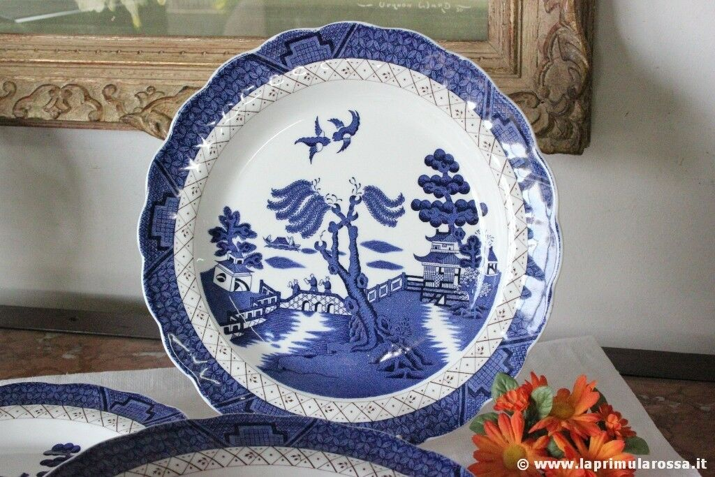 PREZIOSO PIATTO VINTAGE IN CERAMICA ROYAL DOULTON BIANCO BLU SERIE OLD WILLOW