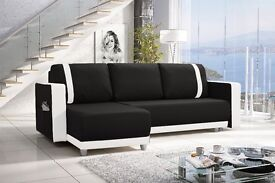 Amazing New Corner Sofa Bed with Bedding Storage black/white Faux Leather- FREE DELIVERY