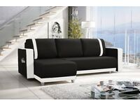 Amazing New Corner sofa with Bedding Storage black/white FREE DELIVERY