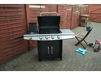 5 burner gas barbecue bbq grill. bottle included hotplate cast iron