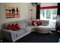 Stunning contemporary three piece modular corner sofa in mixed grey material with scatter cushions