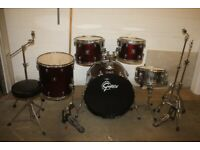Gretsch BlackHawk Wine Red 5 Piece Full Drum Kit (22 in Bass) + All Hardware and Sabian Cymbal Set