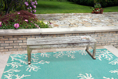 Tropical Coral Nautical Coastal Beach Aqua Indoor Outdoor Area Rug ()
