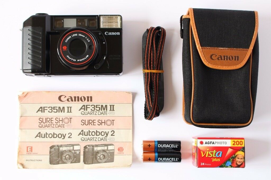 Canon AF35M2/Mii 35mm f2.8 lens - superb cond. With original case, strap, manual, film + batteries.