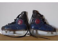 Pair of Vintage Fagan Leather Ice Skates. Size 5. Blades Wilson's special.