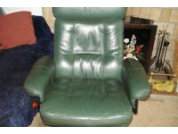 Leather swivel and reclining chair plus footstool