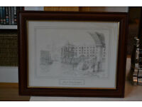 Albert Dock Liverpool Framed drawing by David Hawker (Taking Offers)
