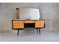 1970's mid century dressing table/vanity in beech veneer