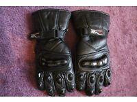Motorcycle gloves, waterproof, black leather