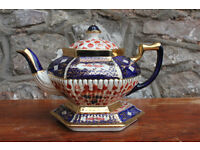 Large Antique Vintage Handpainted Imari Teapot and Stand Welsh Gaudy Tea Hand Painted