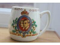 CUP CELEBRATING CORONATION OF GEORGE VI & QUEEN ELIZABETH MAY 1937