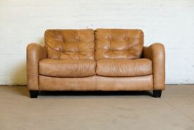 SUPERB DFS TAN LEATHER RETRO STYLE TWO SEATER SOFA - UK DELIVERY