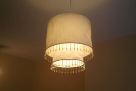 Two faux silk tiered lightshades with bead detail - excellent condition