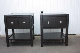 Pair of dark brown bedside cabinets
