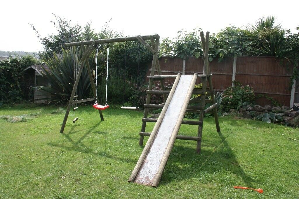 Garden Climbing Frame with 2 swings, slide, ladder and platform - Natural, solid round timbers