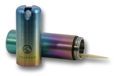 VALTCAN TOOTHPICK HOLDER Titanium Pill Canister Keychain Rainbow