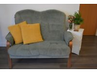 VINTAGE SUEDE GREEN/GREY SOFA (2 SEATER) (Also see other ads!!!)