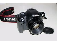 Canon 600d with Canon 50mm (F1.8) prime lens and camera bag