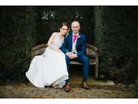 ELLIS Bridals 11358 Duchess Satin A-Line Ivory Designer Wedding Gown Dress DRY CLEANED STEAM Ironed