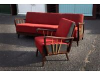 Rare Stunning Art Deco 1930s Daybed/Sofa Bed & Lounge Chair from Paris