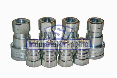 Quick Coupler Iso 7241-1 B 12 Npt Pipe Threads Complete Set 4 Pk
