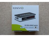 Kinivo 501BN 5 Port High Speed HDMI Switch - Mint Condition