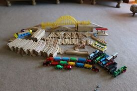 Wooden Train set over 120 pieces