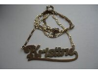 Gold name chain necklace