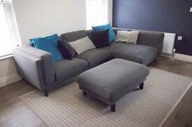 Dark grey corner sofa with footstool, Excellent Condition