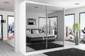 ORDER -=- NOW FULLY MIRRORED 2 DOOR SLIDING DOOR WARDROBE BRAND NEW WE DO SAME OR NEXT DAY DELIVERY