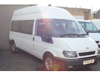 FORD TRANSIT 350 LWB 15 SEAT MINI BUS – 05-reg