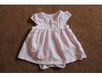 Mothercare Pretty Baby Girls Dress with built in vest, size 0 - 3 months