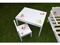 Ikea LATT Children's Table with 1 Chairs Wooden Pine Wood decoupage style