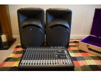 PA system, Mackie Speakers C300Z, Behringer PMP 1600 and flight case