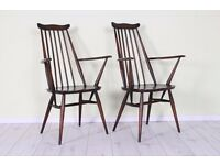 2 X ERCOL CARVER CHAIRS VINTAGE 1960 s - CAN COURIER