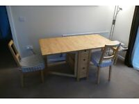 Dining Table plus two matching and two folding chairs